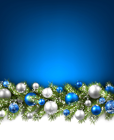 Illustration pour Blue card with fir branch and balls. Vector paper illustration. - image libre de droit