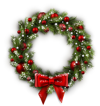 Illustration pour White card with Christmas wreath and bow. Vector illustration. - image libre de droit