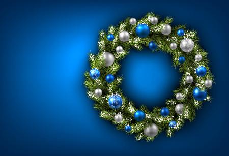 Illustration pour Blue card with Christmas wreath. Vector paper illustration. - image libre de droit