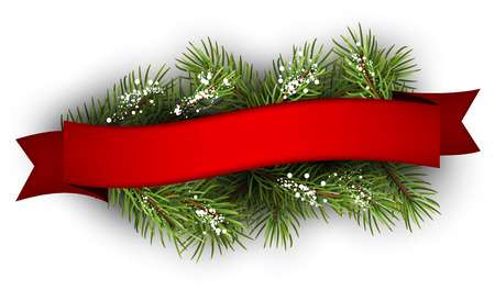 Illustration for Festive background with fir branch and ribbon. Vector illustration. - Royalty Free Image