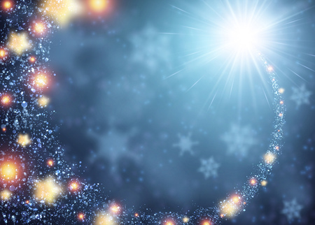 Illustration pour Blue sparkling background with stars. Vector illustration. - image libre de droit