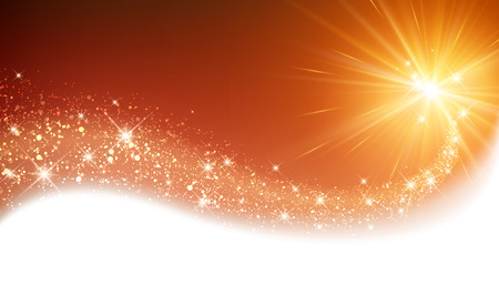 Illustration pour Orange sparkling card with petard. Vector illustration. - image libre de droit