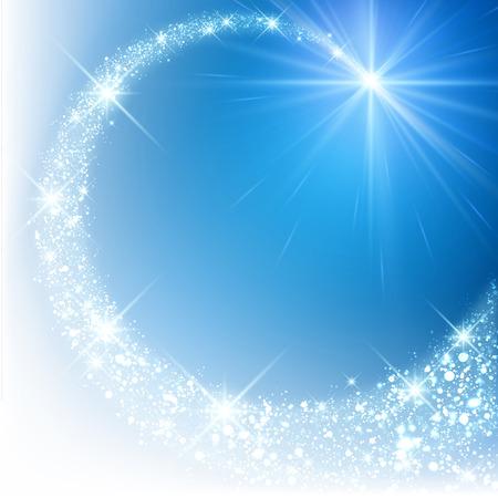 Illustration pour Blue sparkling card with petard. Vector illustration. - image libre de droit