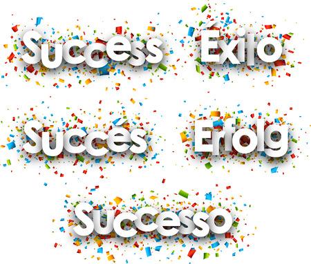Success paper banners set, French, Italian, Spanish, German. Vector illustration.