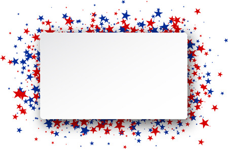 Illustration pour Background with red and blue stars. Vector paper illustration. - image libre de droit