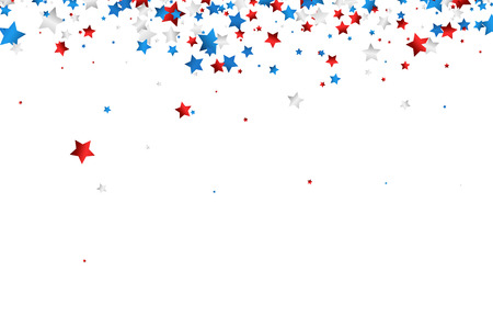Illustration pour Background with red, white, blue stars. Vector paper illustration. - image libre de droit