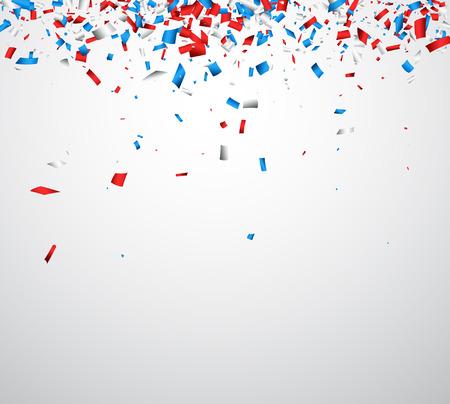 Illustration pour Background with red, white, blue confetti. Vector illustration. - image libre de droit