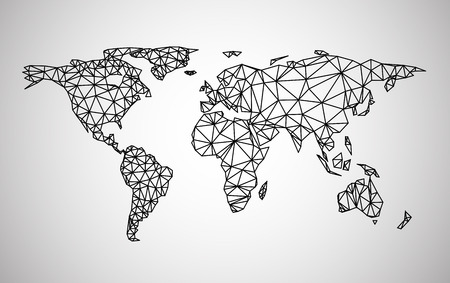 Illustration pour Black abstract world map. Vector paper illustration. - image libre de droit