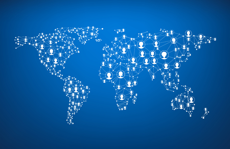 Photo pour Blue global communications world map with heads. Vector paper illustration. - image libre de droit