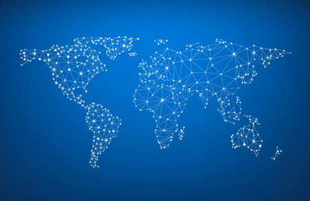 Illustration pour Blue global communications world map. Vector paper illustration. - image libre de droit