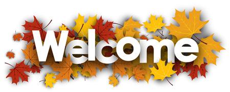 Illustration pour Welcome autumn banner with golden maple leaves. Vector illustration. - image libre de droit