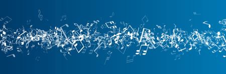 Illustration pour Blue musical banner with white notes. Vector illustration. - image libre de droit