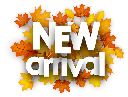 Illustration pour New arrival autumn card with golden maple and oak leaves. Vector illustration. - image libre de droit