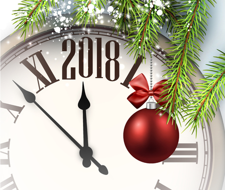 Illustration for 2018 New Year background with clock and Christmas ball. - Royalty Free Image