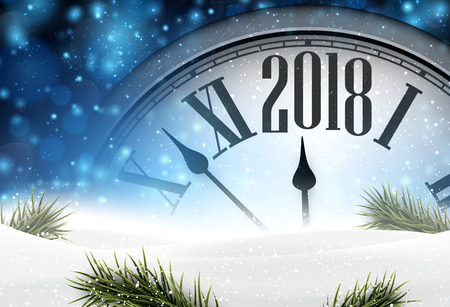 2018 year background with clock, fir branches and snow. Vector illustration.