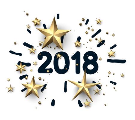 Ilustración de 2018 new year card with golden stars on white background. Vector paper illustration.  - Imagen libre de derechos