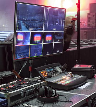 Photo pour the control panel television equipment, TV cable, video cable. - image libre de droit