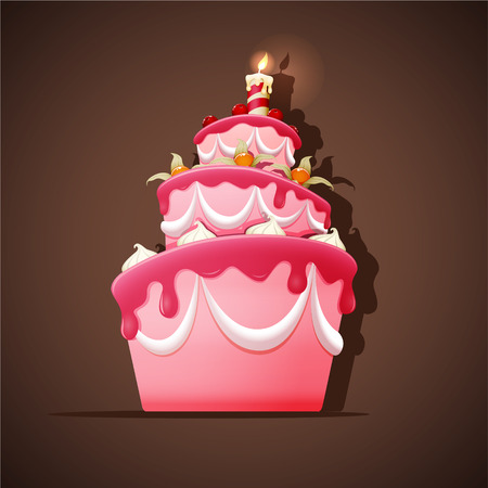 Illustration for Birthday cake with meringues, cherry, ground cherry and candle.  - Royalty Free Image