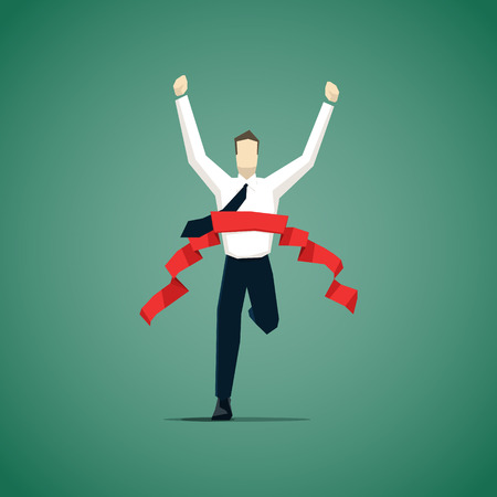 Illustration for Businessman crossing finish line, he is won a competition.  - Royalty Free Image