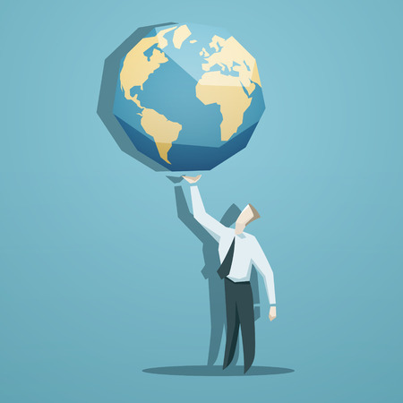 Illustration pour Businessman holding the world in his hands.  - image libre de droit