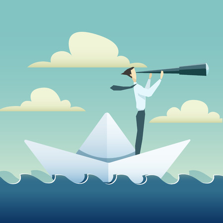 Ilustración de Businessman is sailing on paper boat in ocean. - Imagen libre de derechos