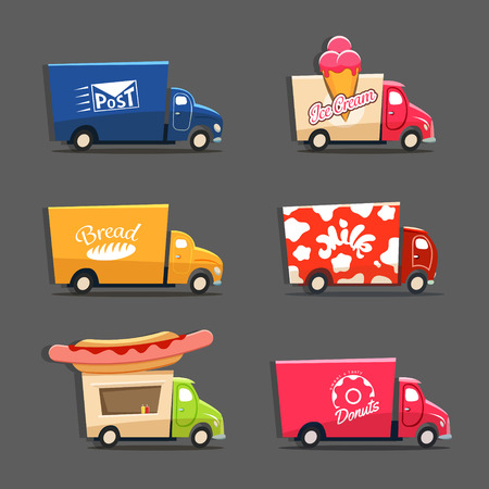 Illustration pour Vector set of trucks with inscriptions featuring ice cream truck, post car, milk truck, bread truck, hot dog truck and sweets and donut car. EPS 10 file - image libre de droit