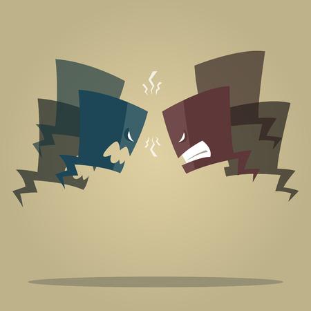 Illustration pour Vector illustration of Conflict speech bubbles - image libre de droit
