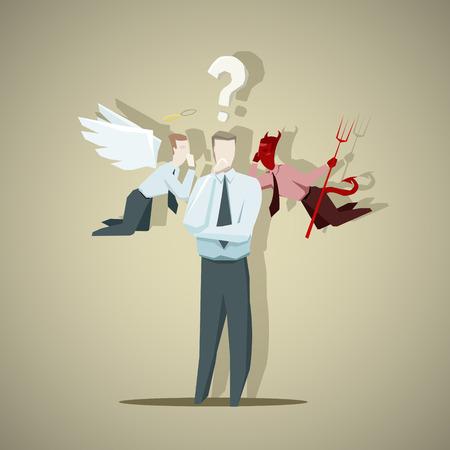 Illustration pour Difficult decision of businessman. EPS 10 file - image libre de droit