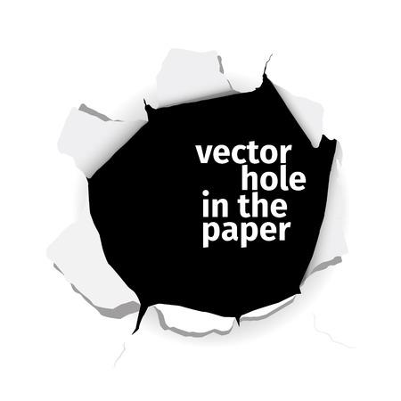 Ilustración de Vector hole in the paper isolated on white background. EPS 10 file. - Imagen libre de derechos