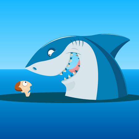 Ilustración de Vector illustration of  Unexpected meeting of shark and man in the sea - Imagen libre de derechos