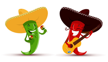 Illustration for Vector illustration of Two funny red and green chili peppers which playing guitar and maracas and singing a song - Royalty Free Image