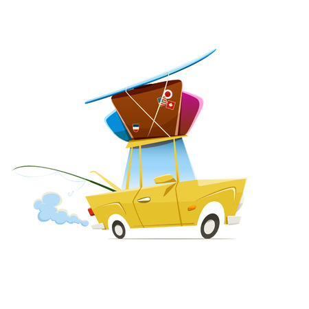 Photo pour Vector illustration of heavy loaded car which is traveling to vacation. EPS 10 file. - image libre de droit