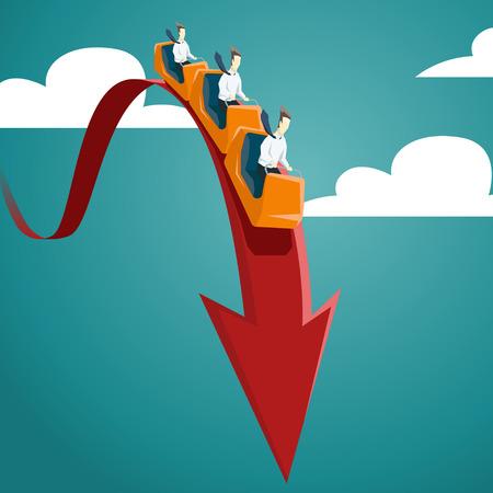 Illustration pour Businessman is riding on a roller coaster. Vector financial and economic crisis graph concept. EPS 10 file - image libre de droit
