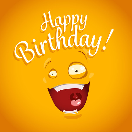Illustration for Happy Birthday card with funny cartoon emotion face. EPS 10 file - Royalty Free Image