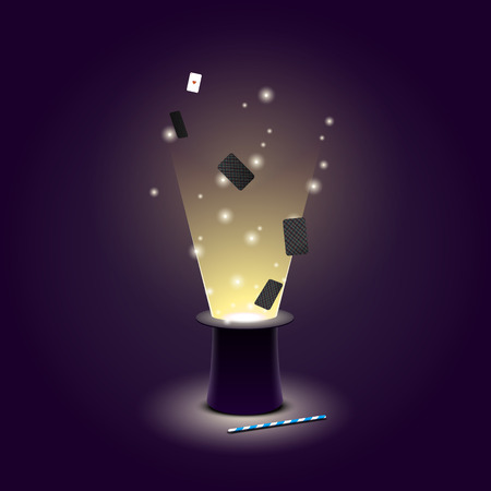 Ilustración de Vector illustration of Magician hat with flying playing cards and light and magic wand. EPS 10 file - Imagen libre de derechos
