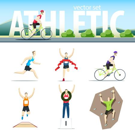 Ilustración de Athletic vector set with different sportsmen: cyclist, rock climber, runner, marathoner, long jumper, winne. EPS 10 file - Imagen libre de derechos
