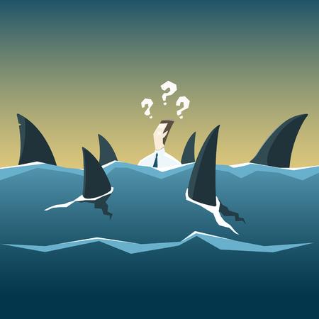 Ilustración de Sharks attack businessman who is drowning in the sea. Vector financial and economic crisis concept. EPS 10 file. - Imagen libre de derechos