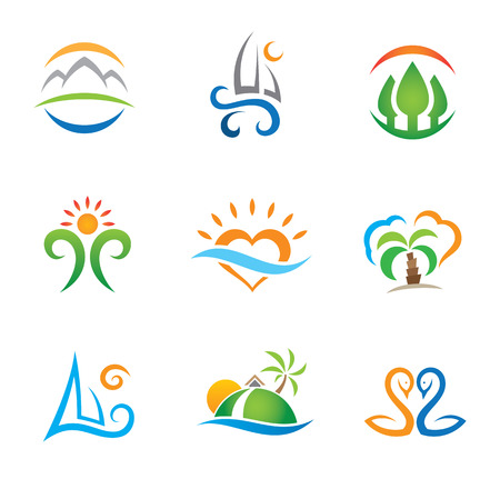 Foto de Experience travel paradise and live free logo template - Imagen libre de derechos