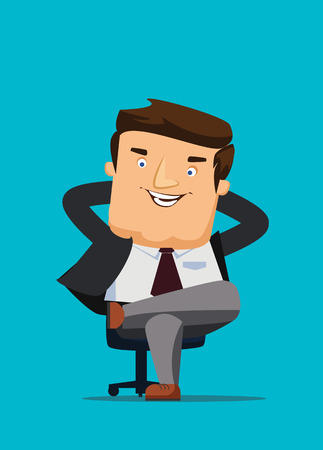 Illustration pour CEO sitting in a chair with big idea vector illustration - image libre de droit