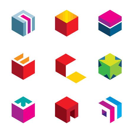 Illustration pour Puzzle cube maze box arrow symbol success logo icon set - image libre de droit