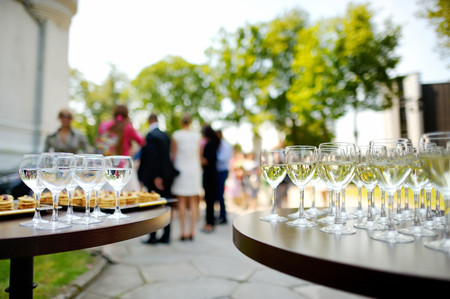 Photo for Lots of wine glasses during some festive event - Royalty Free Image