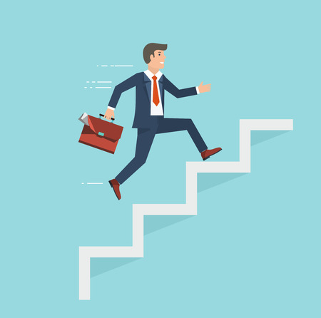 Illustration pour Businessman with suitcase climbing the stairs of success. Flat style illustration. - image libre de droit