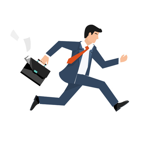 Illustration for Flat style vector illustration of a businessman running, business concept - Royalty Free Image