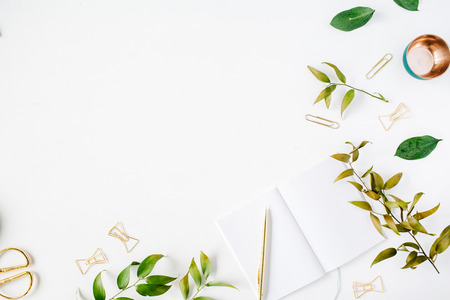 Photo for feminine home office workspace mockup with branches, golden pen, clips. flat lay, top view - Royalty Free Image