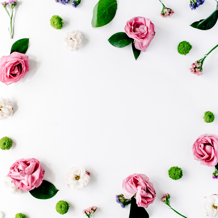 Photo for round frame wreath pattern with roses, pink flower buds, branches and leaves isolated on white background. flat lay, top view - Royalty Free Image