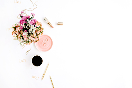 Photo for Wildflowers bouquet, coffee cup, golden pen, clips and accessories. Styled flat lay mockup - Royalty Free Image