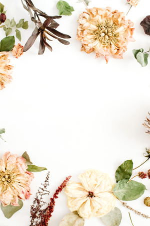 Photo for Round frame wreath with dried flowers: beige peony, protea, eucalyptus branches, roses on white background. Flat lay, top view. Floral background - Royalty Free Image
