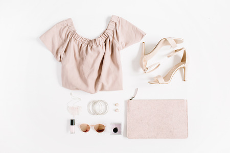 Photo pour Woman fashion clothes and accessories collage on white background. Flat lay, top view feminine background. - image libre de droit