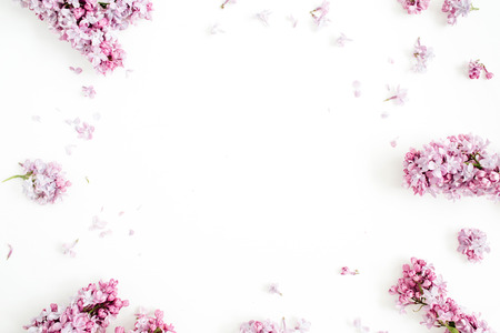 Photo for Frame of lilac flowers with space for text on white background. Flat lay, top view - Royalty Free Image