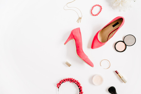 Foto de Woman fashion high heels and accessories collage on white background. Flat lay, top view feminine background. - Imagen libre de derechos